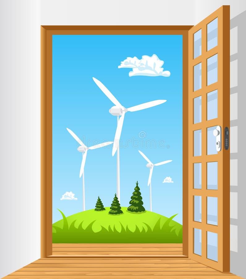 Ανοίξτε την πόρτα στην πράσινη ενέργεια ελεύθερη απεικόνιση δικαιώματος