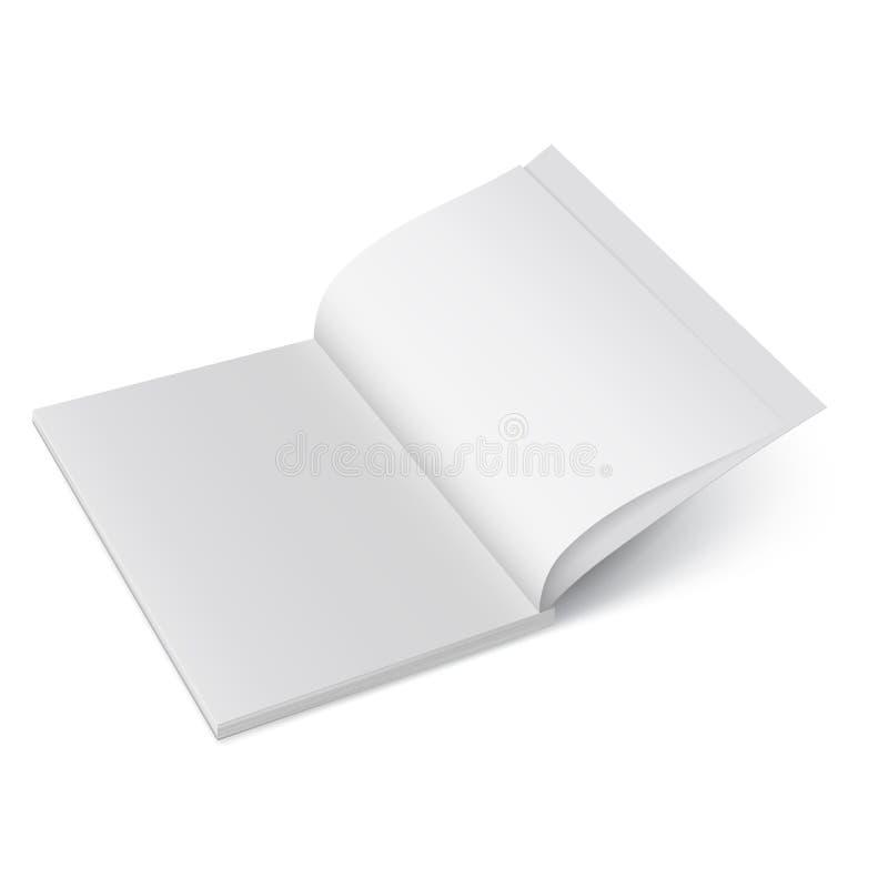Ανοίξτε το περιοδικό εγγράφου Διανυσματική χλεύη επάνω του βιβλιάριου που απομονώνεται Ανοιγμένο κάθετο πρότυπο περιοδικών, φυλλά ελεύθερη απεικόνιση δικαιώματος