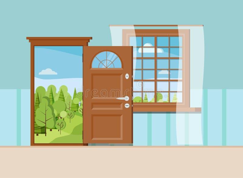 Ανοιγμένα ξύλο πόρτα και παράθυρο εισόδων με την όμορφη θερινή άποψη απεικόνιση αποθεμάτων