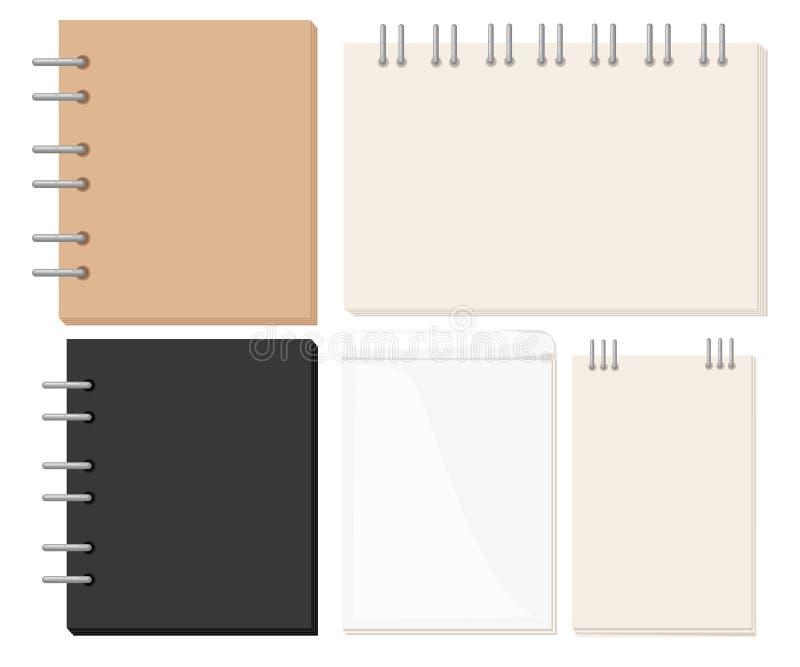 Ανοιγμένα σπειροειδή όργανα τέχνης Sketchbook για τη ζωγραφική, σχεδιασμός, σκιαγράφηση ελεύθερη απεικόνιση δικαιώματος