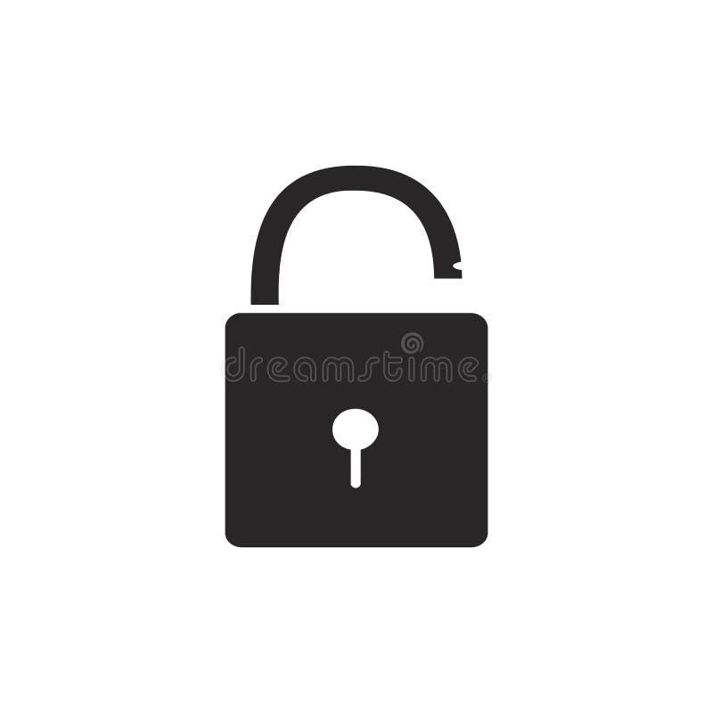Ανοιγμένες και κλειστές κλειδαριές Επίπεδο ύφος Έννοια του κωδικού πρόσβασης, blocki διανυσματική απεικόνιση