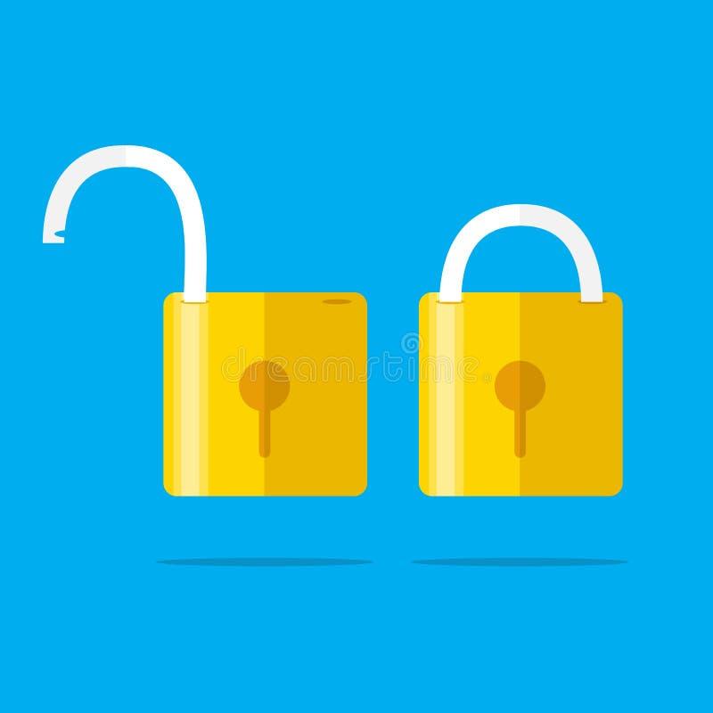 Ανοιγμένες και κλειστές κλειδαριές Επίπεδο ύφος Έννοια του κωδικού πρόσβασης ελεύθερη απεικόνιση δικαιώματος