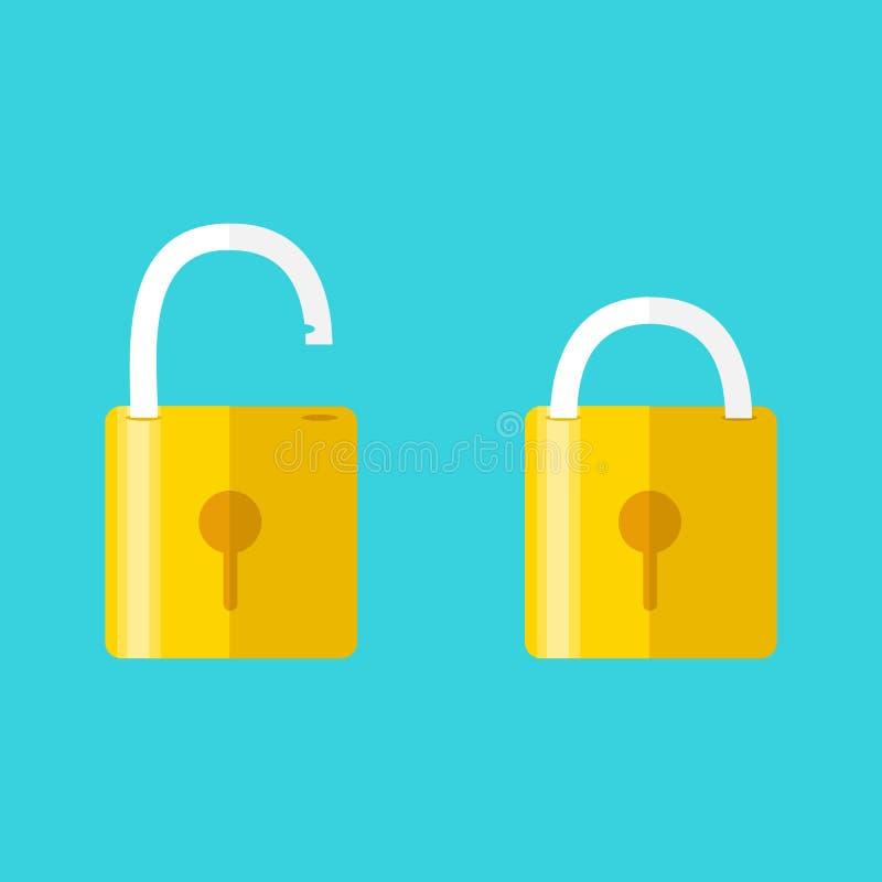 Ανοιγμένες και κλειστές κλειδαριές Επίπεδο ύφος Έννοια του κωδικού πρόσβασης απεικόνιση αποθεμάτων