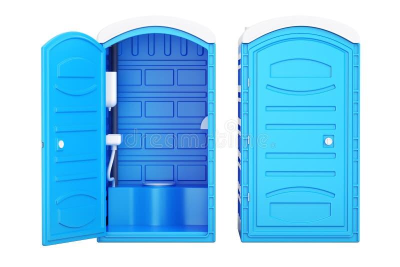 Ανοιγμένες και κλειστές κινητές φορητές μπλε πλαστικές τουαλέτες, τρισδιάστατο rende διανυσματική απεικόνιση