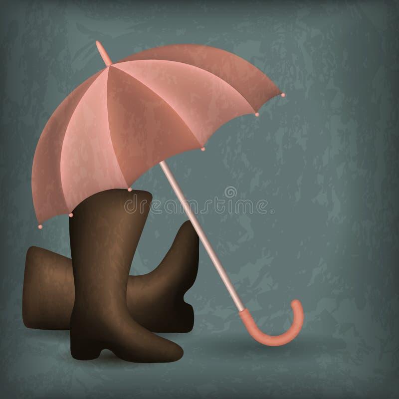 Ανοιγμένη ομπρέλα βροχής και λαστιχένιες μπότες απεικόνιση αποθεμάτων