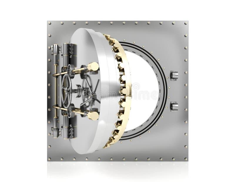 Ανοιγμένη πόρτα υπόγειων θαλάμων τραπεζών με το κενό άσπρο υπόβαθρο για τη χλεύη επάνω, τρισδιάστατη απόδοση διανυσματική απεικόνιση