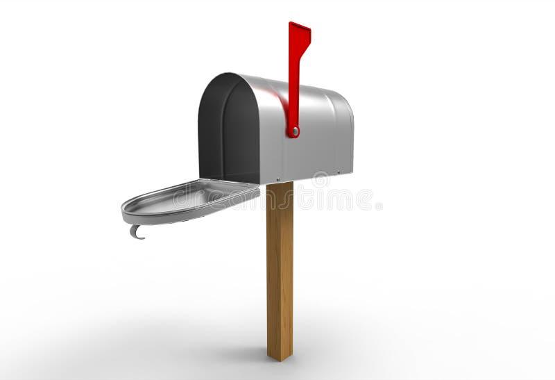 Ανοιγμένη ταχυδρομική θυρίδα που απομονώνεται στο λευκό απεικόνιση αποθεμάτων