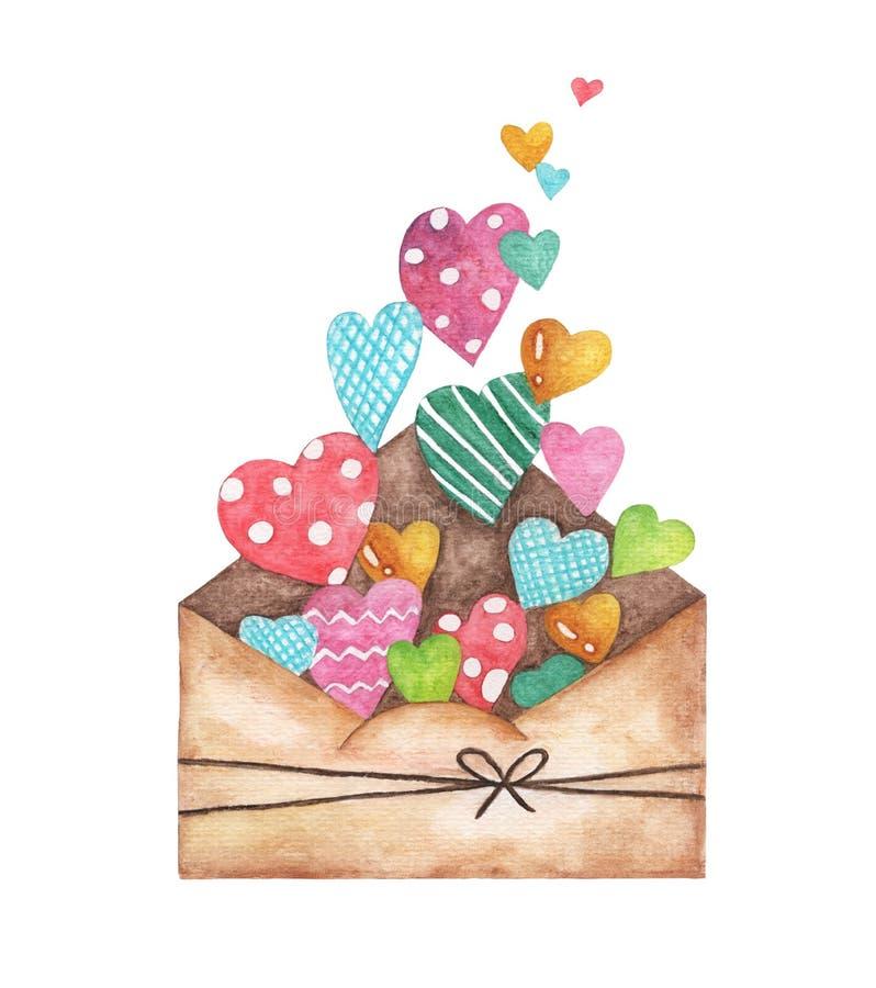 Ανοιγμένος φάκελος και πολλές χαριτωμένες καρδιές, ειδύλλιο καρδιών επιστολών αγάπης Απεικόνιση Watercolor που απομονώνεται στο ά απεικόνιση αποθεμάτων