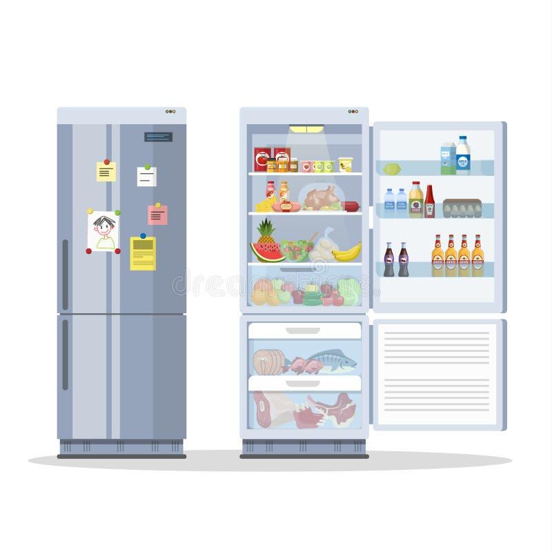 Ανοιγμένο και κλειστό ψυγείο ή ψυγείο με τα τρόφιμα διανυσματική απεικόνιση