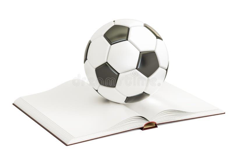 Ανοιγμένο κενό βιβλίο με τη σφαίρα ποδοσφαίρου, τρισδιάστατη απόδοση διανυσματική απεικόνιση