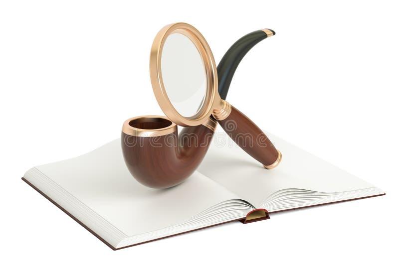 Ανοιγμένο κενό βιβλίο με τον πιό magnifier και καπνίζοντας σωλήνα, τρισδιάστατη απόδοση διανυσματική απεικόνιση