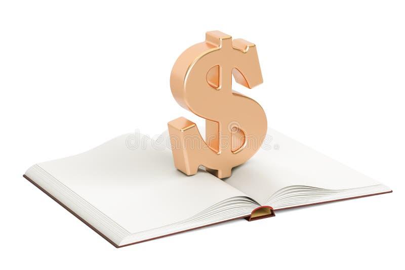 Ανοιγμένο κενό βιβλίο με το σύμβολο δολαρίων, τρισδιάστατη απόδοση ελεύθερη απεικόνιση δικαιώματος