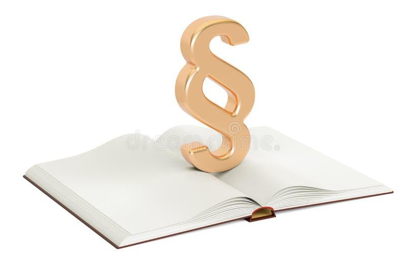 Ανοιγμένο κενό βιβλίο με το σύμβολο παραγράφου ή τμημάτων, τρισδιάστατη απόδοση διανυσματική απεικόνιση