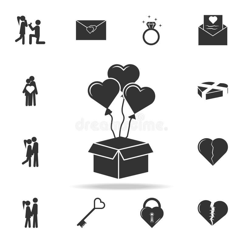 ανοιγμένο κιβώτιο δώρων με το εικονίδιο μπαλονιών καρδιών Λεπτομερές σύνολο σημαδιών και στοιχεία των εικονιδίων αγάπης Γραφικό σ διανυσματική απεικόνιση