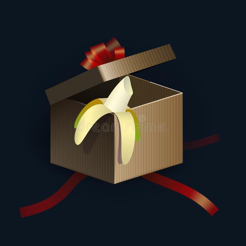 Ανοιγμένο κιβώτιο δώρων με τις κόκκινες λουρίδες και την μπανάνα μέσα ελεύθερη απεικόνιση δικαιώματος