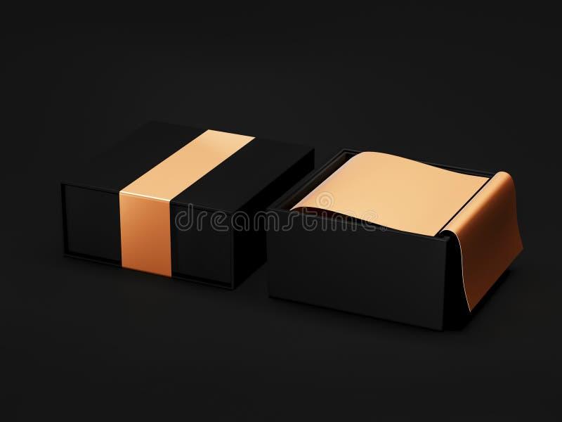 Ανοιγμένο μαύρο πρότυπο κιβωτίων δώρων στο μαύρο υπόβαθρο, τρισδιάστατη απόδοση Συσκευάζοντας κιβώτιο πολυτέλειας για τα προϊόντα διανυσματική απεικόνιση
