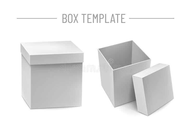 Ανοιγμένο πρότυπο κουτιών από χαρτόνι παράδοσης διανυσματική απεικόνιση