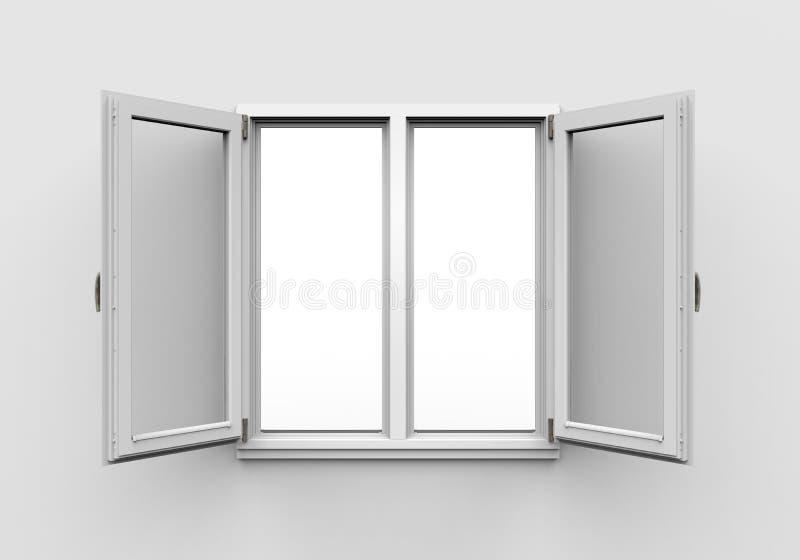 Ανοιγμένο πλαστικό παράθυρο στο άσπρο υπόβαθρο ελεύθερη απεικόνιση δικαιώματος