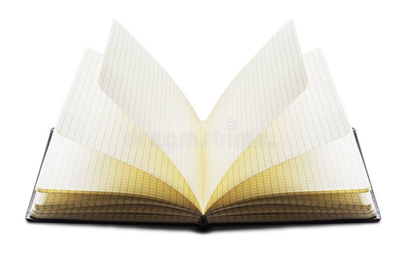 Ανοιγμένο σημειωματάριο, ημερολόγιο, περιοδικό, βιβλίο ημέρας στο μαύρο χρώμα και καθαρές σελίδες στο απομονωμένο άσπρο υπόβαθρο  στοκ εικόνα με δικαίωμα ελεύθερης χρήσης