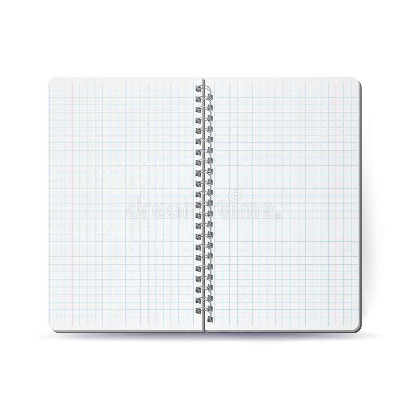 Ανοιγμένο σημειωματάριο με τη σπείρα σπειρών Διανυσματικό σπειροειδές σημειωματάριο Καθαρίστε τη χλεύη επάνω για το σχέδιό σας επ απεικόνιση αποθεμάτων