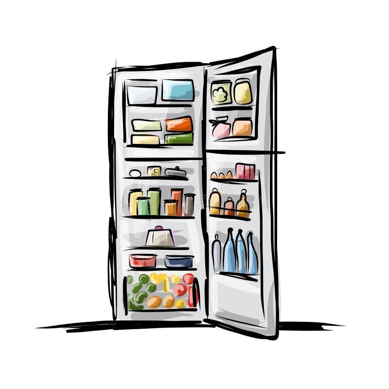 Ανοιγμένο σύνολο ψυγείων των τροφίμων, σκίτσο για το σχέδιό σας απεικόνιση αποθεμάτων