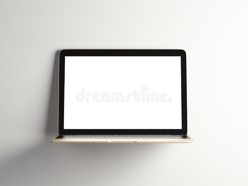 Ανοιγμένο χρυσό σύγχρονο lap-top τρισδιάστατη απόδοση διανυσματική απεικόνιση