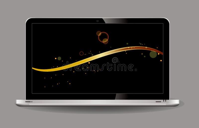 Ανοιγμένο lap-top ύφος με τη σαφή επίδειξη και το σύγχρονο σχέδιο-απομονωμένο γκρι ελεύθερη απεικόνιση δικαιώματος