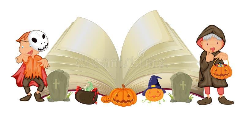 Ανοικτά βιβλίο και παιδιά στα κοστούμια αποκριών διανυσματική απεικόνιση