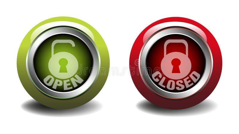 Ανοικτά και κλειστά κουμπιά Ιστού απεικόνιση αποθεμάτων