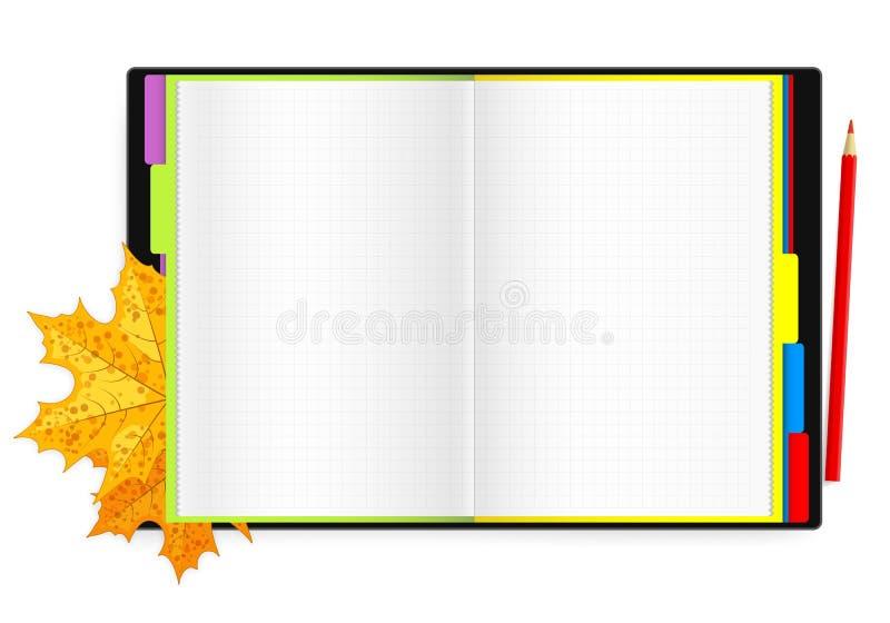Ανοικτά σημειωματάριο, μολύβι και φύλλα σφενδάμου ελεύθερη απεικόνιση δικαιώματος