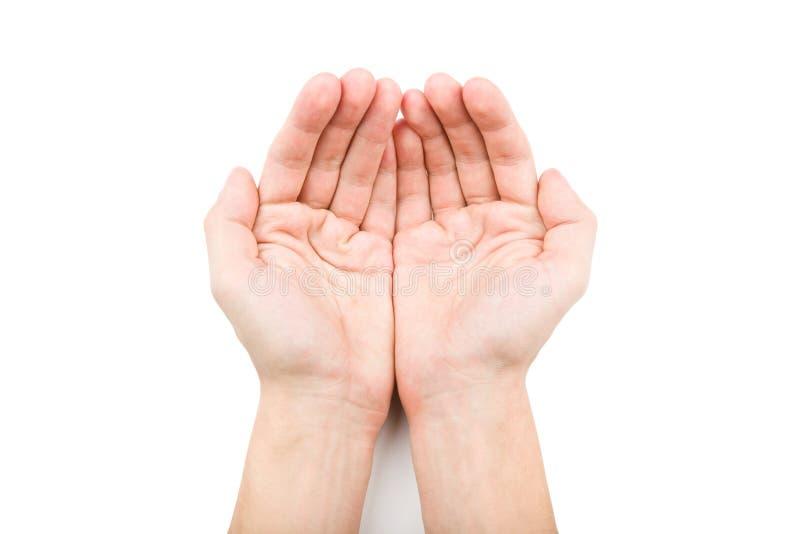 Ανοικτά χέρια που δίνουν κάτι στοκ φωτογραφία