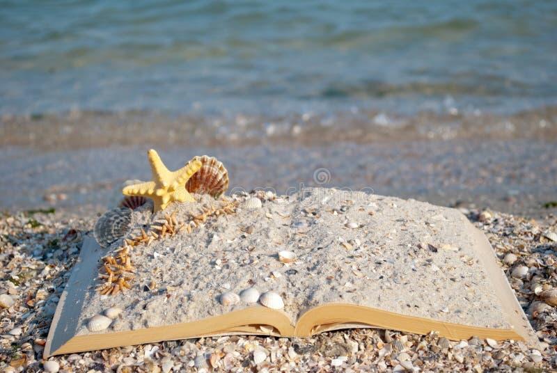 Ανοικτές βιβλίων άμμου θαλασσινών κοχυλιών θάλασσας αστεριών παραλιών ακροθαλασσιών διακοπές θερινού Σαββατοκύριακου κυμάτων μπλε στοκ φωτογραφία με δικαίωμα ελεύθερης χρήσης