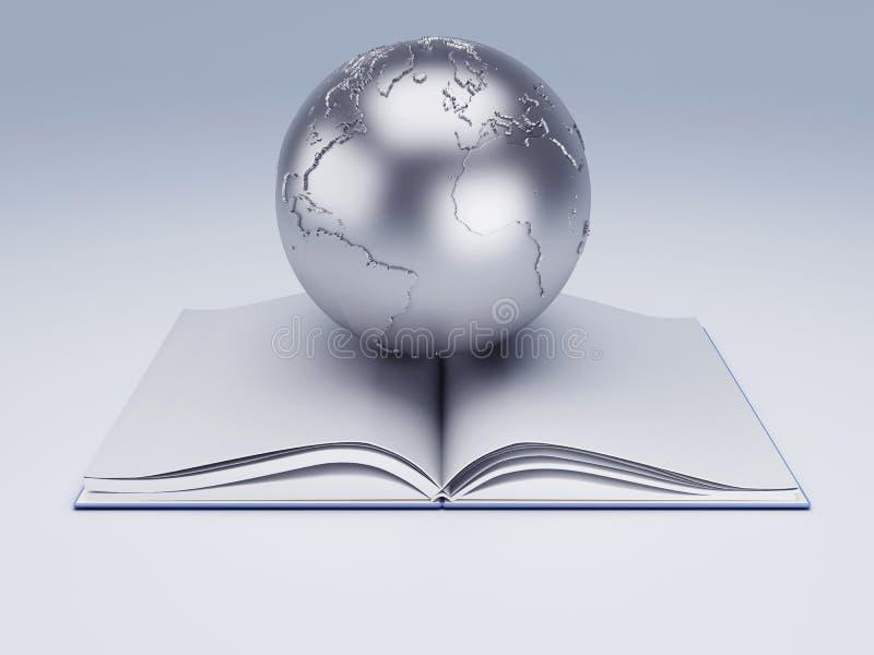 Ανοικτές βιβλίο και σφαίρα πλήρες απομονωμένο κεφάλι λευκό γνώσης έννοιας βιβλίων ανασκόπησης ελεύθερη απεικόνιση δικαιώματος