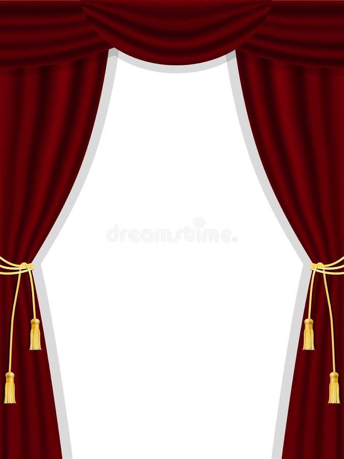 Ανοικτές κουρτίνες θεάτρων στο λευκό απεικόνιση αποθεμάτων