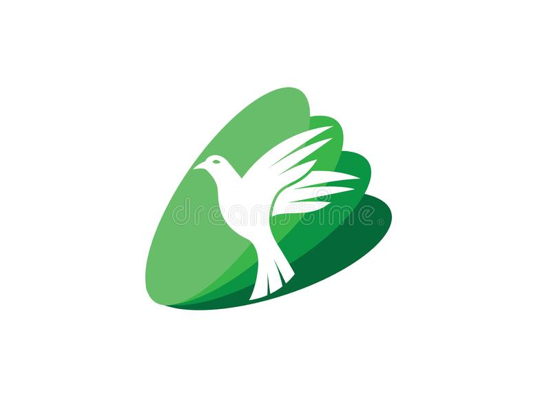 Ανοικτές φτερά και μύγα πουλιών περιστεριών για το λογότυπο ελεύθερη απεικόνιση δικαιώματος