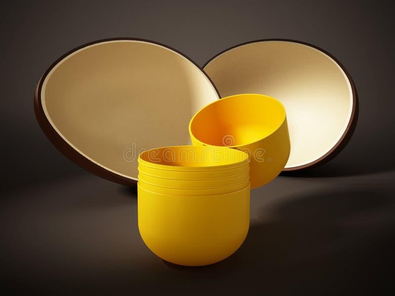 Ανοικτή έκπληξη αυγών με την κίτρινη κάψα τρισδιάστατη απεικόνιση διανυσματική απεικόνιση