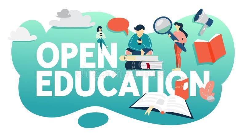 Ανοικτή έννοια εκπαίδευσης Παίρνοντας την εκπαίδευση σε απευθείας σύνδεση χωρίς προβλήματα διανυσματική απεικόνιση