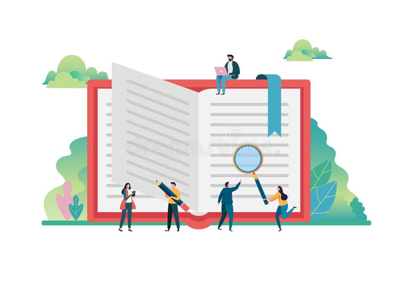 Ανοικτή έννοια φαντασίας βιβλίων Ημέρα παγκόσμιων βιβλίων, στις 23 Απριλίου εκπαίδευση, διαβούλευση, κολλέγιο, σχολείο r διανυσματική απεικόνιση