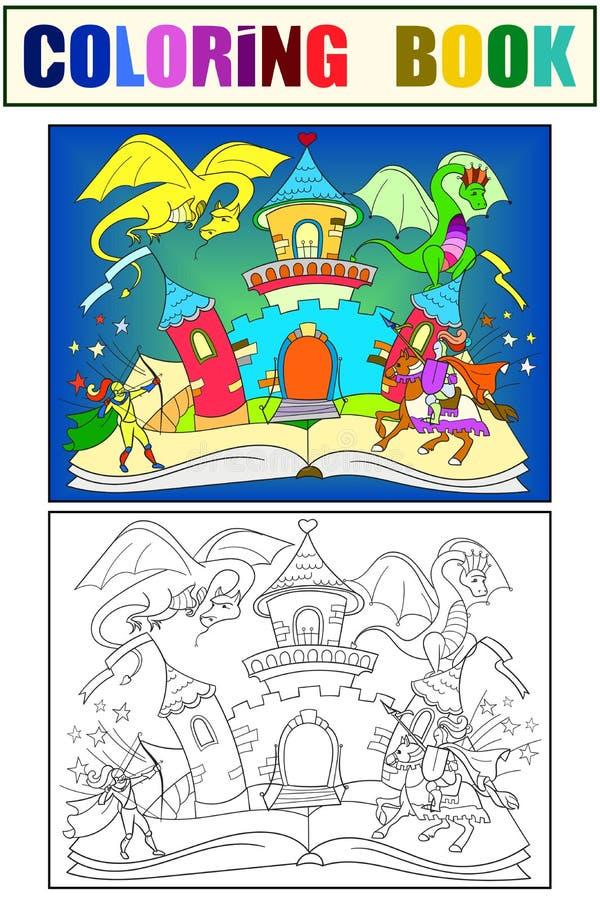 Ανοικτή απεικόνιση παιδιών έννοιας ιστορίας βιβλίων νεράιδων χρώματος με τον κακό δράκο, το γενναίο πολεμιστή και το μαγικό κάστρ ελεύθερη απεικόνιση δικαιώματος
