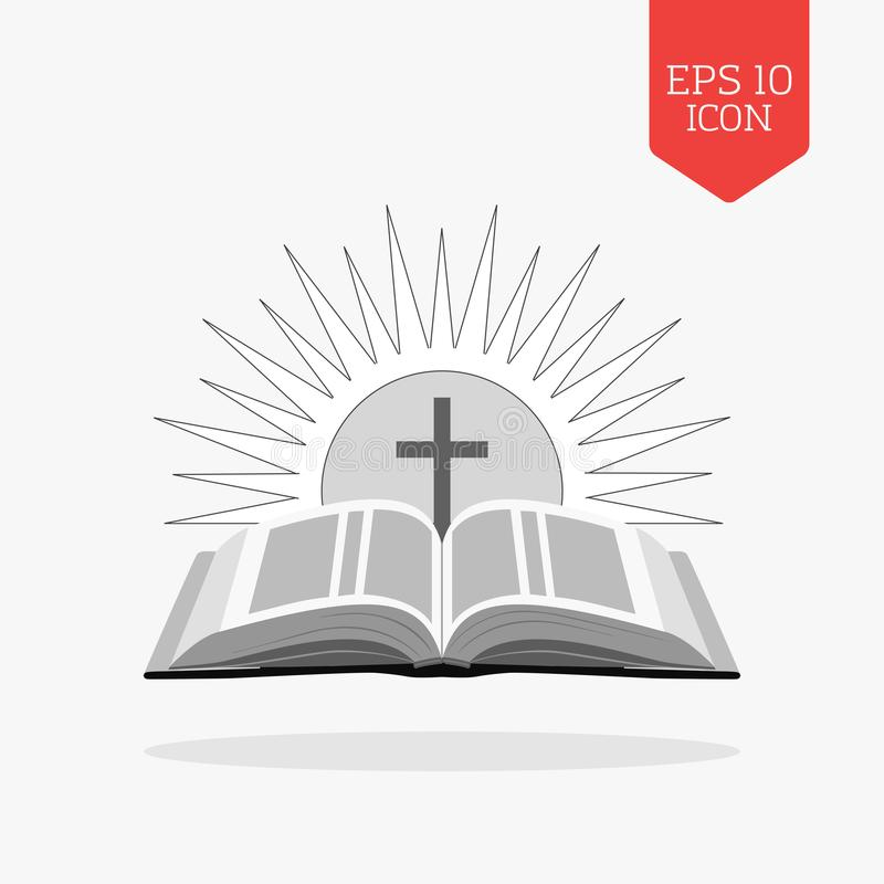Ανοικτή Βίβλος με τον ήλιο και το διαγώνιο εικονίδιο Έννοια λογότυπων εκκλησιών Επίπεδο de διανυσματική απεικόνιση
