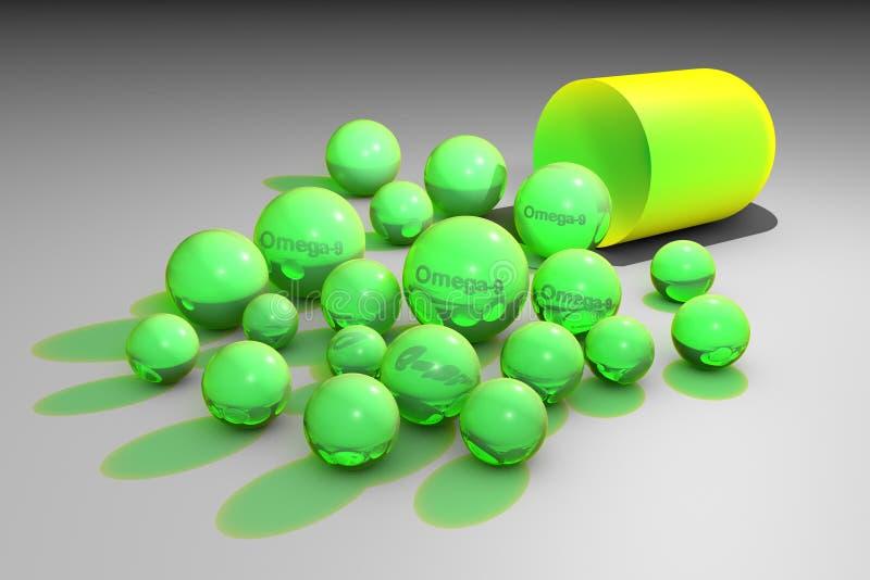 Ανοικτή κάψα με πράσινα ωμέγα-9 χάπια Κάψες ελαϊκού οξέος Πολυακόρεστα λιπαρά οξέα Βιταμίνη και ανόργανο άλας σύνθετες διανυσματική απεικόνιση