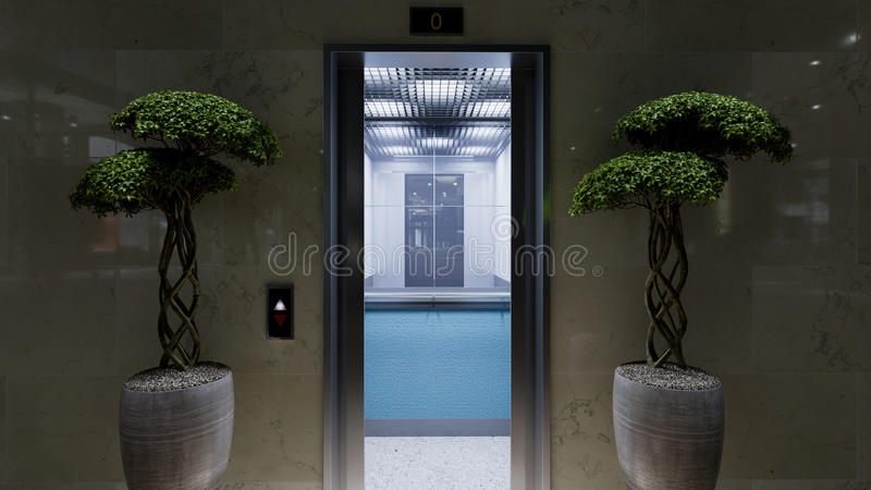 Ανοικτή και κλειστή έννοια πορτών ανελκυστήρων κτιρίου γραφείων μετάλλων χρωμίου στοκ εικόνα με δικαίωμα ελεύθερης χρήσης