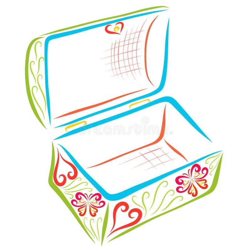 Ανοικτή κασετίνα με ένα ρομαντικό σχέδιο διανυσματική απεικόνιση