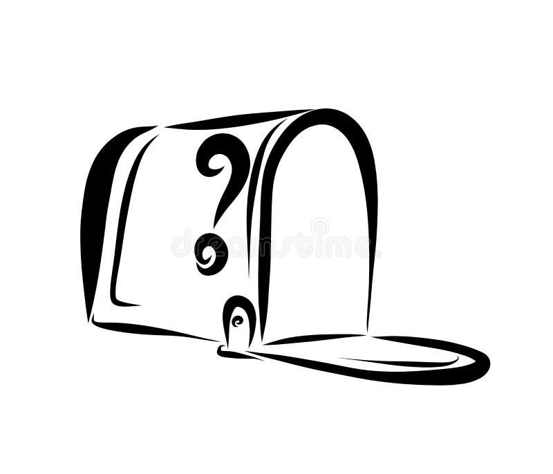 Ανοικτή κενή ταχυδρομική θυρίδα, μαύρο σκίτσο διανυσματική απεικόνιση
