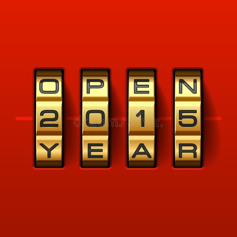 Ανοικτή νέα κάρτα έτους του 2015 διανυσματική απεικόνιση