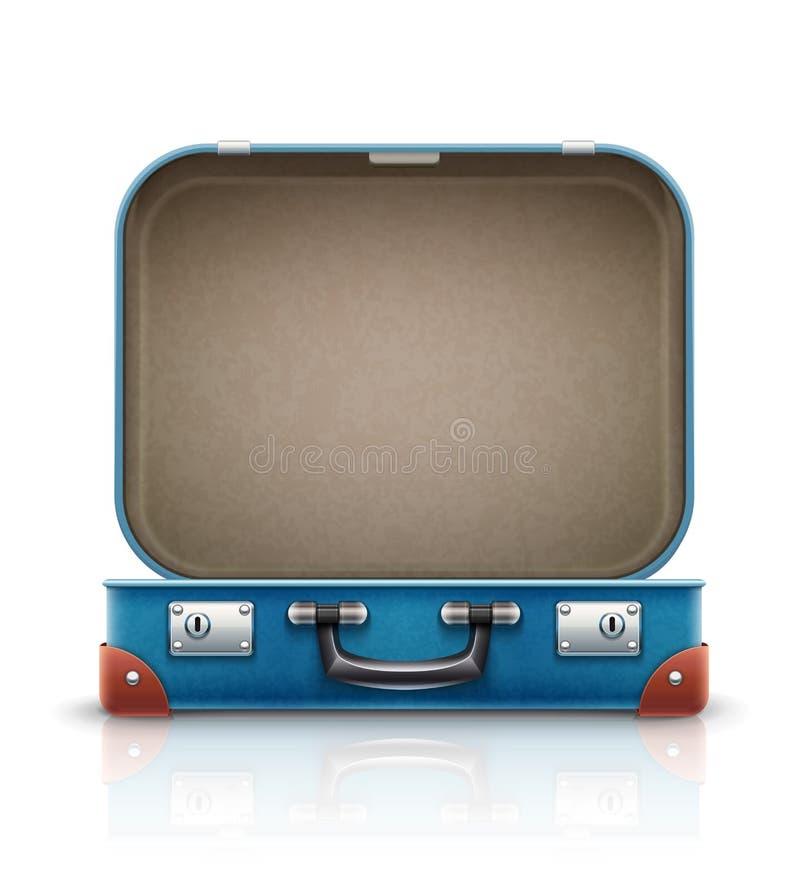 Ανοικτή παλαιά αναδρομική εκλεκτής ποιότητας βαλίτσα για το ταξίδι ελεύθερη απεικόνιση δικαιώματος