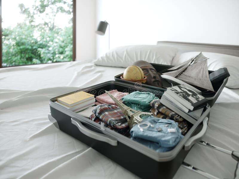 Ανοικτή περίπτωση ταξιδιού στο υπόβαθρο έννοιας διακοπών ταξιδιού κρεβατοκάμαρων ξενοδοχείων στοκ φωτογραφία