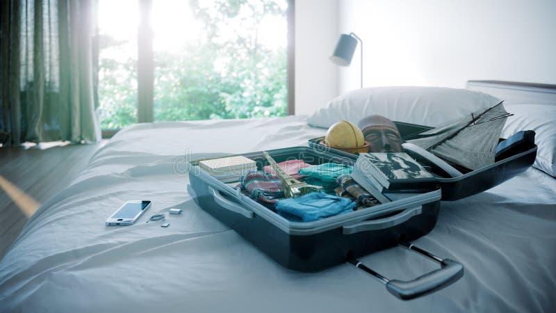 Ανοικτή περίπτωση ταξιδιού στο υπόβαθρο έννοιας διακοπών ταξιδιού κρεβατοκάμαρων ξενοδοχείων στοκ εικόνα με δικαίωμα ελεύθερης χρήσης