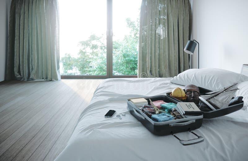 Ανοικτή περίπτωση ταξιδιού στο υπόβαθρο έννοιας διακοπών ταξιδιού κρεβατοκάμαρων ξενοδοχείων στοκ φωτογραφίες