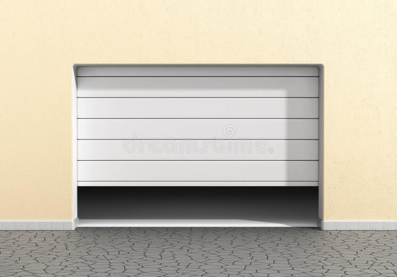Ανοικτή πόρτα γκαράζ σε ένα σύγχρονο κτήριο ελεύθερη απεικόνιση δικαιώματος